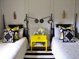 Eclectic Black and Yellow Guest Room | evaru design | HGTV