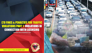 Lto Fines And Penalties For Traffic Violations Part 1 Violations