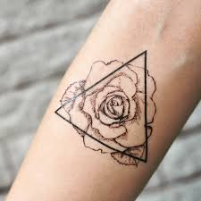 Triangle Rose Outline Temporary Tattoo Sticker Set Of 2