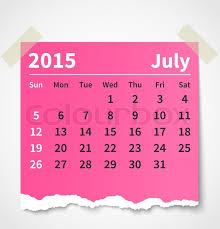 Calendar July 2015 Colorful Torn Stock Vector Colourbox