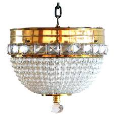 crystal bead and brass dome chandelier french flush mount