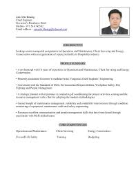 Resume Format For Hotel Chief Engineer Pdf Templates For