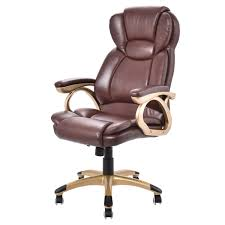 costway ergonomic office chair pu leather high back executive computer desk task brown com