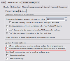 calendar preferences dialog with automatic update notice option highlighted lotus notes admin jobs
