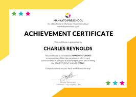Award Of Excellence Certificate Template Impressive Preschool Certificate Template 48 Free Word PDF PSD Format