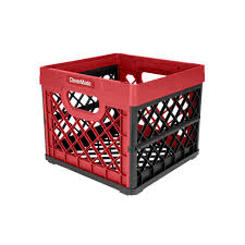 25 l collapsible milk crate in red and black