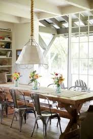 furniture farmhouse table for dining room farmhouse table dining area modern style with rope tan shade pendant light and metal chairs