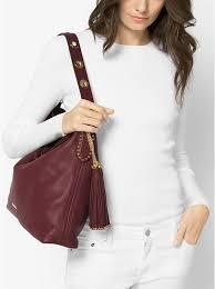 oxblood michael kors brooklyn large leather shoulder bag bag