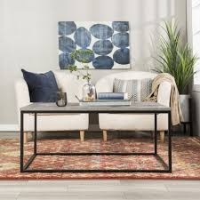 details about 42 transitional mixed material coffee table dark concrete top quality original
