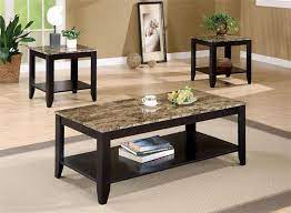 We got the 3 piece coffee table set that came with a coffee table and 2 end tables. Black Faux Marble Coffee Table Set Black Wood Coffee Table