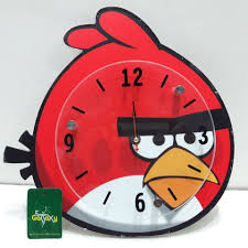 angry birds kids wall clock red color