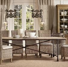 rattan dining room set. restoration hardware gray rattan side chairs dining room set w