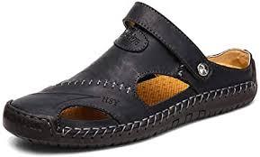 <b>Men's</b> Closed Toe <b>Leather</b> Sandals Breathable <b>Soft</b> Non-Slip Flip ...