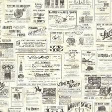 Newspaper Chesapeake Adamstown Cream Vintage Newspaper Wallpaper Sample 24