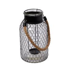 Glass Candle Holder   DIY Black Chicken Wire Glass & Metal Candle Holder