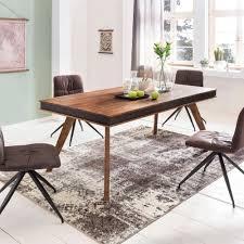 Esstisch Massivholz Sheesham 200x76x100 Cm Küchentisch Kunstleder