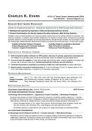 Senior Software Engineer Sample Resume highlights of technical career