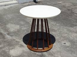 vintage mid century danish modern arthur umanoff walnut spindle spoke round side end table stool