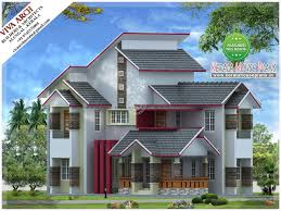 kerala traditional modern slope roof house