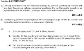 Operational Excellence Example Question 1 Compulsory A Critically Evaluate How