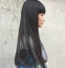 切りっぱなしロングの髪型13選黒髪前髪なしパーマストレート Belcy