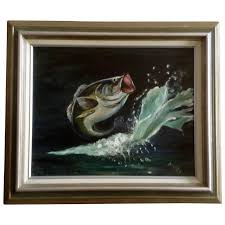 nagle largemouth bass fish jumping out of water oil painting on canvas signed by artist