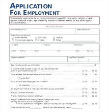 Generic Employment Application Form Free Job Application Template Employment Examples In Word
