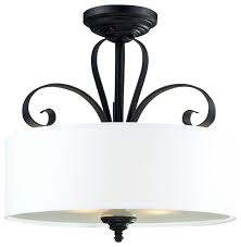 three light matte black white linen shade drum semi flush mount