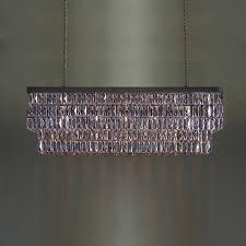 rectangular mirrored crystal chandelier with bronze