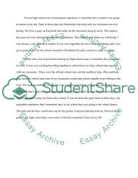 High School And Personal Experiences Essay Example Topics