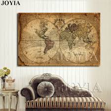 home office wall art. Vintage World Map Canvas Art Print Large Painting Calligraphy Retro Navigation Poster Home Office Wall