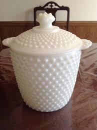 vintage milk glass hobnail cookie jar cannister ice bucket fenton anchor hocking