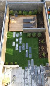 ... Fascinating Green And Gray Rectangle Modern Grass Backyard Landscape  Design Ornamnetal Stone Floor And ...