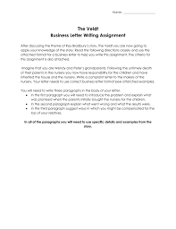 Complain Business Letter The Veldt Business Letter Assignment