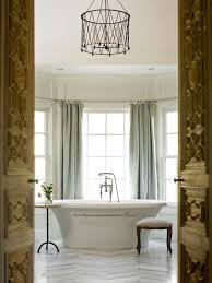 Bathrooms  Bathroom Decor With Oval White Bathtub And Small Stool - Modern bathroom chandeliers