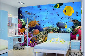 2015 New Arrival 3d Ocean World Wallpaper Fish For Kids Room Bedroom Wall  Paper Cartoon Style Colorful Free Shipping  In Wallpapers From Home  Improvement On ...