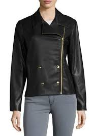 michael michael kors double ted faux leather moto jacket