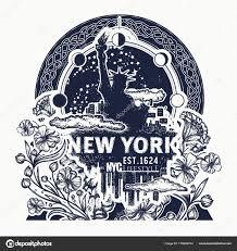 статуя свободы нью йорк и модерн цветочное тату векторное