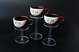 Teacup Display Stand Set Of Three Round Acrylic Cosmetic Display Jewelry Stand Holder 88