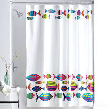 shower curtain tropical fish calypso schools of brightly colored swim along
