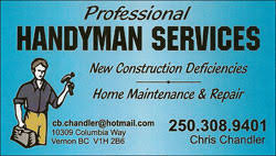 handyman business okanagan lake bc local handyman business cards