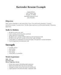 Bartending Resume Template New Example Bartender Resume Examples Of Bartender Resumes Free