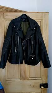mens h m biker faux leather jacket l