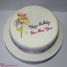 83914734 Birthday Wishes Round Purple Cake With Custom Name Betcy