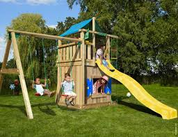 childrens wooden climbing frame lodge playhouse 2 swing 14