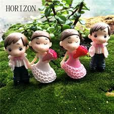 2pcs sweety couple figurines miniatures fairy garden gnome moss terrariums resin crafts wedding decoration