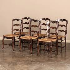 french dining chairs. Set Of Six Ladderback Rush Seat Country French Dining Room With Regard To Chairs Remodel 2