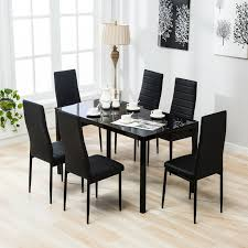 Designer Black Dining Chairs Details About 7 Pieces Dining Set Glass Table 6 Leather Chairs Kitchen Dining Room Furniture