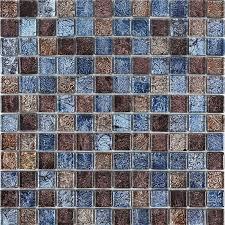 glossy glass tile backsplash ideas bathroom mosaic sheets brown and blue crystal glass wall tiles