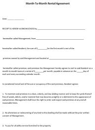 Month To Month Rental Agreement Template Month To Month Rental Agreement Form